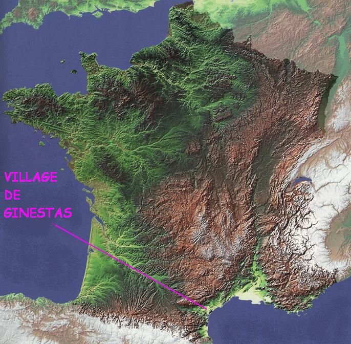 CARTE DE FRANCE EN RELIEF AVEC GINESTAS 11120