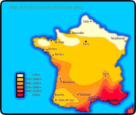 map of France with hours of sun per years